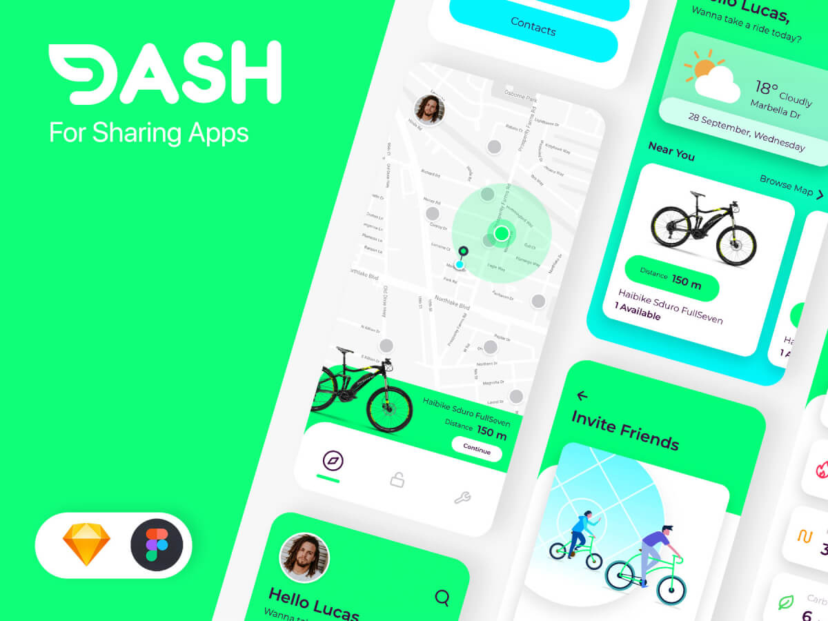 Bike Sharing App Figma UI Kit