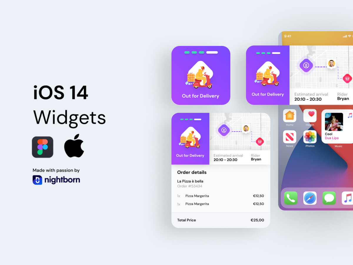 iOS 14 Widgets - Delivery App - Figma UI Kit