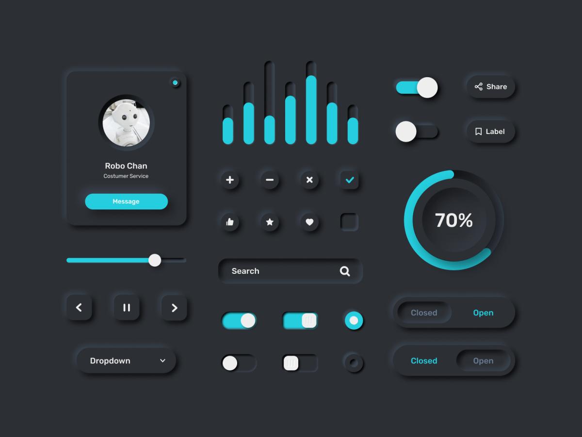 Neumorphism Figma UI Kit