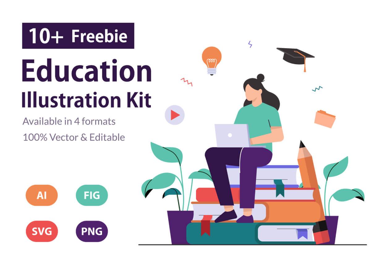 Education & Online Learning Illustration Kit