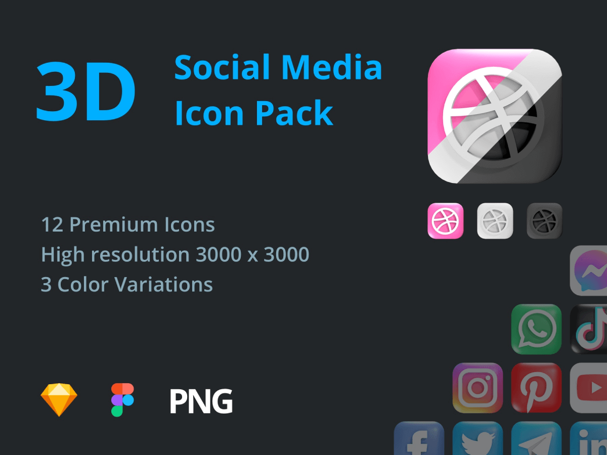 3D Social Media Figma Icon Pack